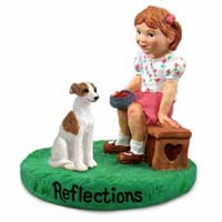 Whippet Brindle & White Reflections w/Girl Figurine