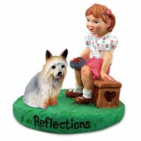 Silky Terrier Reflections w/Girl Figurine