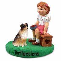 Australian Shepherd Brown Reflections w/Girl Figurine