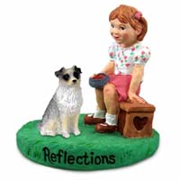 Australian Shepherd Blue Reflections w/Girl Figurine