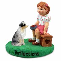 Australian Shepherd Blue w/Docked Tail Reflections w/Girl Figurine