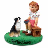 Australian Shepherd Tricolor Reflections w/Girl Figurine