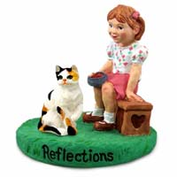 Calico Shorthaired Cat w/Girl Figurine