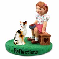 Tortoise & White Cornish Rex Cat w/Girl Figurine