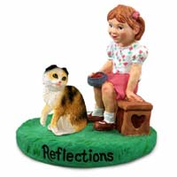 Tortoise & White Scottish Fold Cat w/Girl Figurine