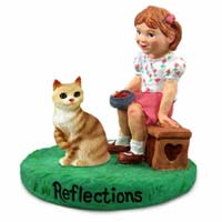 Red Tabby Manx Cat w/Girl Figurine