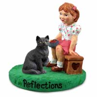 Black Shorthaired Tabby Cat w/Girl Figurine