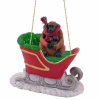 Orangutan Sleigh Ride Ornament