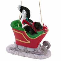 Skunk Sleigh Ride Ornament