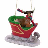 Long Horn Steer Sleigh Ride Ornament