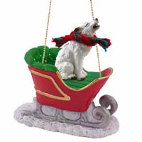 Wolf White Sleigh Ride Ornament