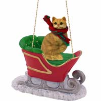 Red Shorthaired Tabby Cat Sleigh Ride Ornament