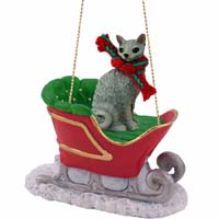 Blue Cornish Rex Sleigh Ride Ornament
