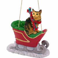 Brown Tabby Maine Coon Cat Sleigh Ride Ornament