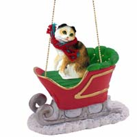 Tortoise & White Scottish Fold Sleigh Ride Ornament