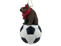 Bear Brown Soccer Ornament