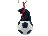 Bear Black Soccer Ornament