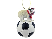 Bear Polar Soccer Ornament