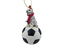 Tiger White Soccer Ornament