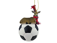 Deer Doe Soccer Ornament