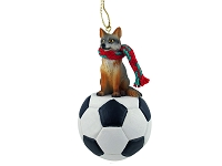 Fox Gray Soccer Ornament