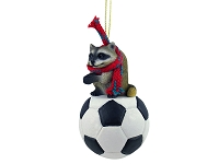 Raccoon Soccer Ornament