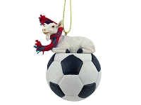 Goat White Soccer Ornament