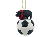 Pig Black Soccer Ornament