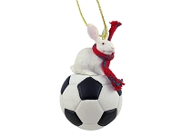 Rabbit White Soccer Ornament