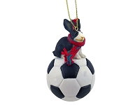 Rabbit Black & White Soccer Ornament