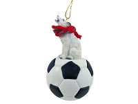 Wolf White Soccer Ornament