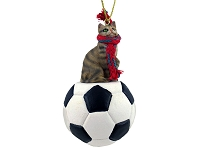 Brown Shorthaired Tabby Cat Soccer Ornament