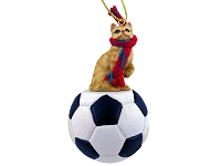 Red Shorthaired Tabby Cat Soccer Ornament