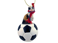 Calico Shorthaired Soccer Ornament