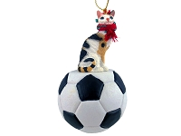 Tortoise & White Cornish Rex Soccer Ornament