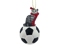Silver Tabby Maine Coon Cat Soccer Ornament