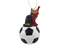 Brown Maine Coon Cat Soccer Ornament