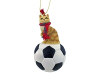 Red Tabby Manx Soccer Ornament