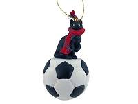 Black Shorthaired Tabby Cat Soccer Ornament