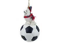 Poodle White Soccer Ornament