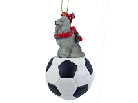 Poodle Gray Soccer Ornament