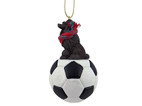 Poodle Chocolate Soccer Ornament