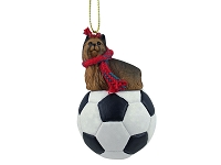 Yorkshire Terrier Soccer Ornament