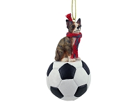 Chihuahua Brindle & White Soccer Ornament