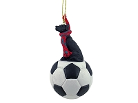 Great Dane Black w/Uncropped Ears Soccer Ornament