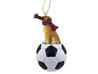 Great Dane Fawn w/Uncropped Ears Soccer Ornament