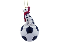 Great Dane Harlequin w/Uncropped Ears Soccer Ornament