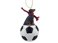 Doberman Pinscher Red w/Uncropped Ears Soccer Ornament