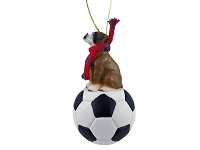 Boxer w/Uncropped Ears Soccer Ornament