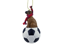 Boxer Tawny w/Uncropped Ears Soccer Ornament